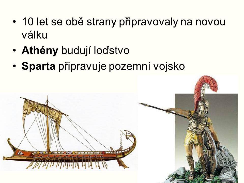10 let se obě strany připravovaly na novou válku Athény budují loďstvo Sparta připravuje pozemní vojsko