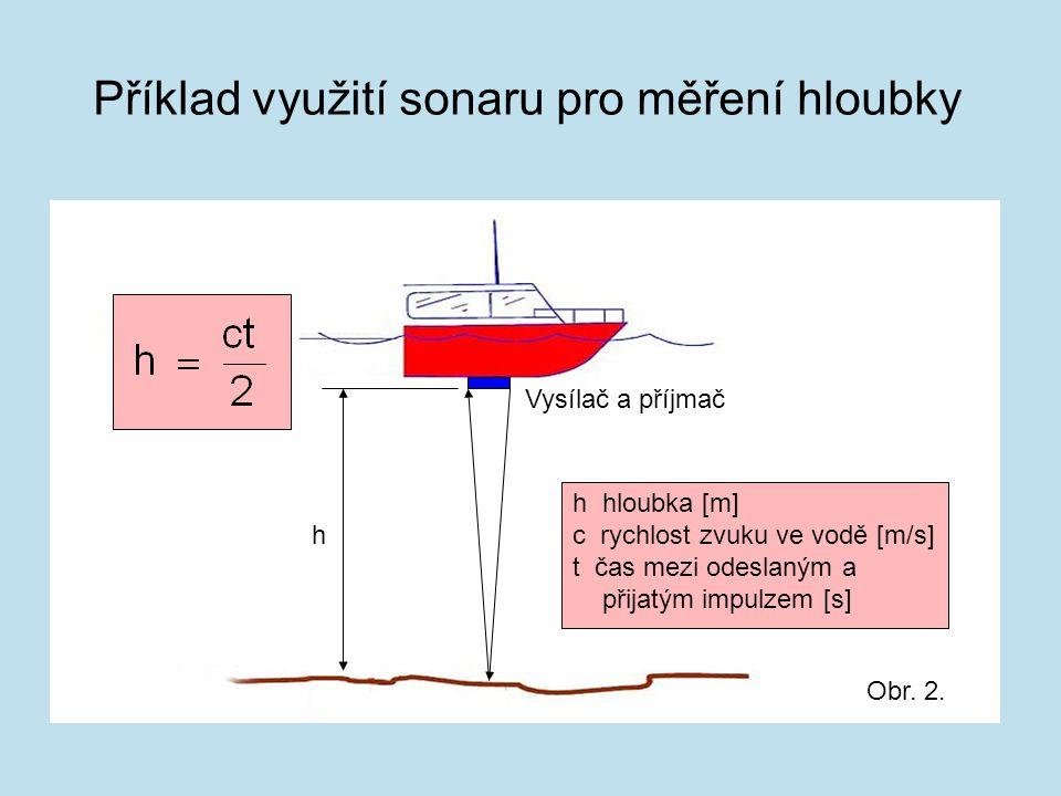 Příklad využití sonaru pro měření hloubky h Vysílač a příjmač h hloubka [m] c rychlost zvuku ve vodě [m/s] t čas mezi odeslaným a přijatým impulzem [s
