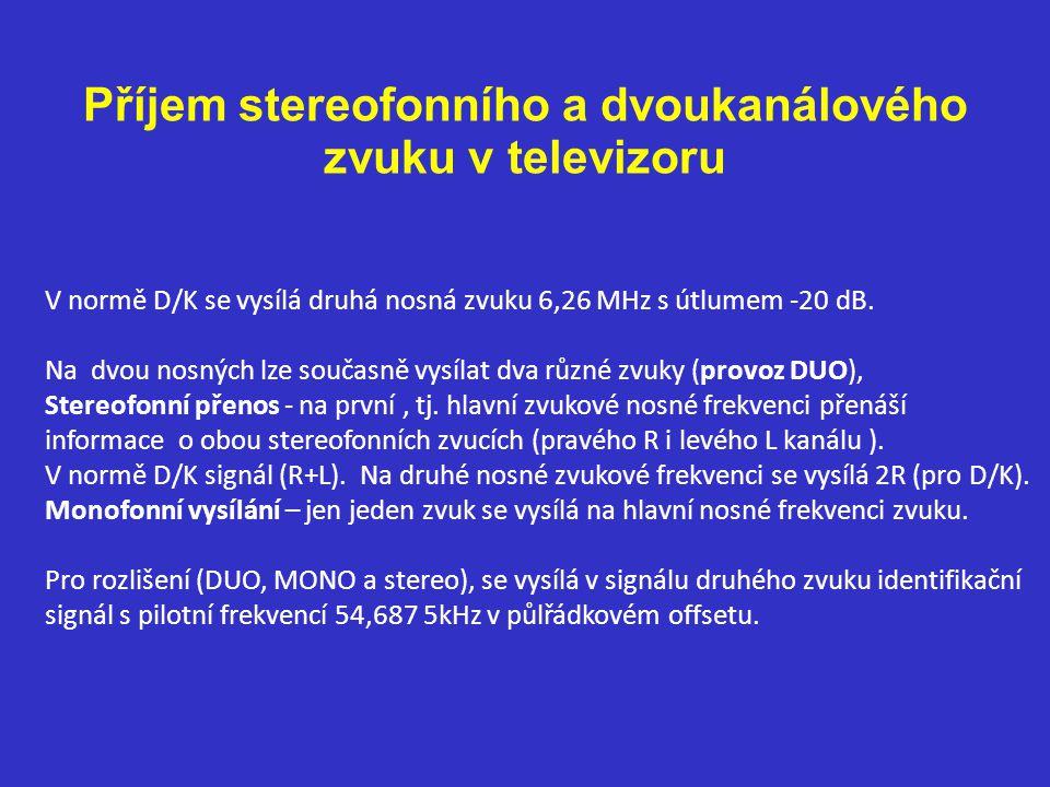 Příjem stereofonního a dvoukanálového zvuku v televizoru V normě D/K se vysílá druhá nosná zvuku 6,26 MHz s útlumem -20 dB.