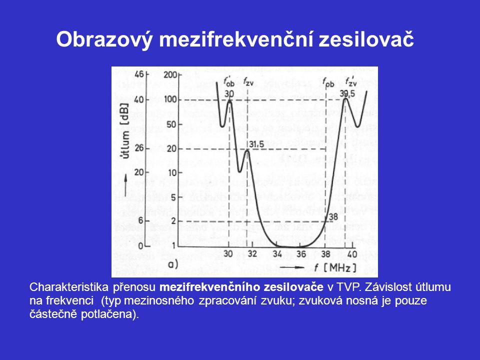 Obrazový mezifrekvenční zesilovač Charakteristika kreslená jako závislost zesílení na frekvenci (typ kvaziparalelního zpracování zvuku; zvuková nosná je v obrazové cestě potlačená na min.) – tuto selektivitu zabezpečuje predřazený filtr PAV (SAW)