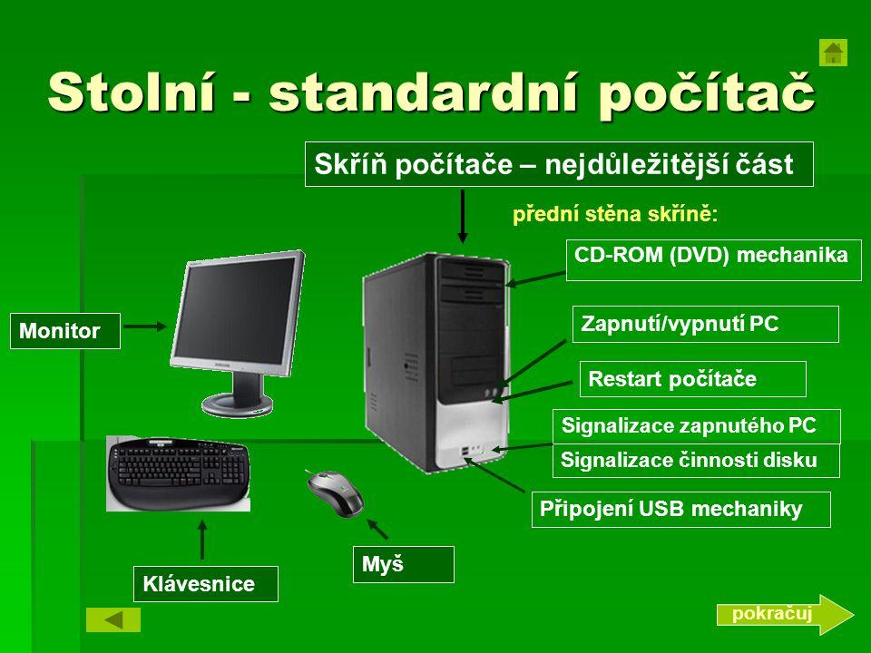 Stolní - standardní počítač Myš CD-ROM (DVD) mechanika Skříň počítače – nejdůležitější část Signalizace činnosti disku Zapnutí/vypnutí PC Signalizace