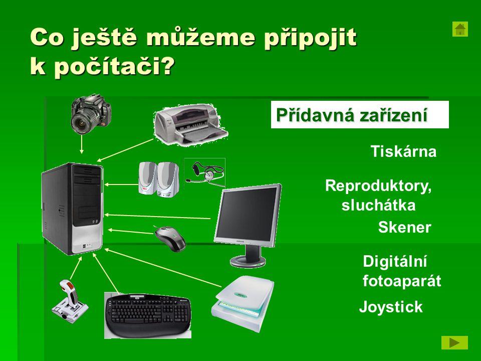 Co ještě můžeme připojit k počítači? Tiskárna Reproduktory, sluchátka Skener Digitální fotoaparát Přídavná zařízení Joystick