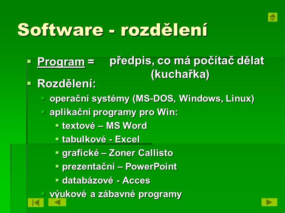 Software - rozdělení  Program =  Rozdělení:  operační systémy (MS-DOS, Windows, Linux)  aplikační programy pro Win:  textové – MS Word  tabulkov