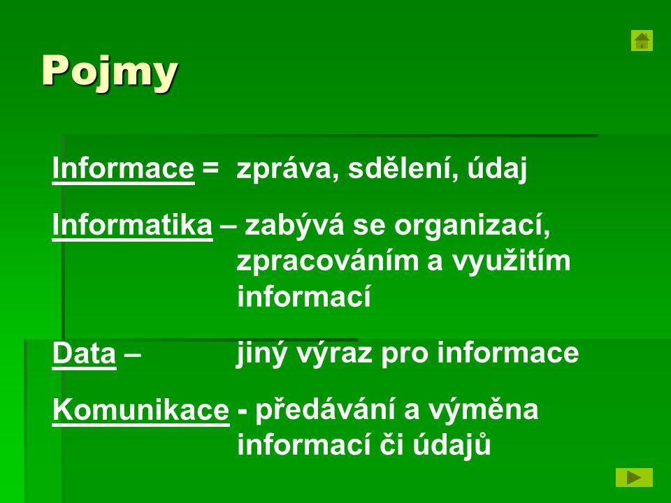 Pojmy zpráva, sdělení, údaj zabývá se organizací, zpracováním a využitím informací jiný výraz pro informace - předávání a výměna informací či údajů Informace = Informatika – Data – Komunikace -