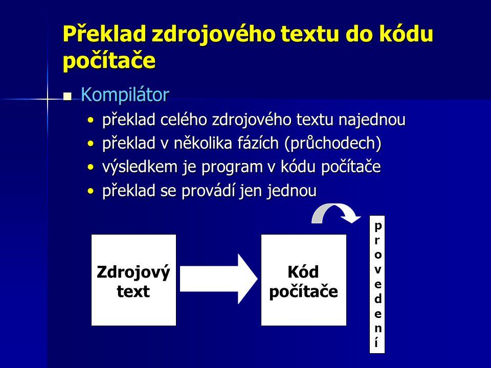 Překlad zdrojového textu do kódu počítače Kompilátor Kompilátor překlad celého zdrojového textu najednoupřeklad celého zdrojového textu najednou překlad v několika fázích (průchodech)překlad v několika fázích (průchodech) výsledkem je program v kódu počítačevýsledkem je program v kódu počítače překlad se provádí jen jednoupřeklad se provádí jen jednou Zdrojový text Kód počítače provedeníprovedení