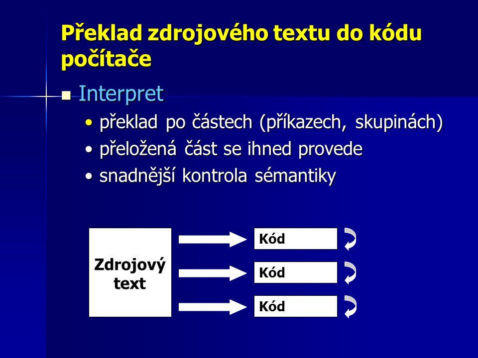 Překlad zdrojového textu do kódu počítače Interpret Interpret překlad po částech (příkazech, skupinách)překlad po částech (příkazech, skupinách) přeložená část se ihned provedepřeložená část se ihned provede snadnější kontrola sémantikysnadnější kontrola sémantiky Zdrojový text Kód
