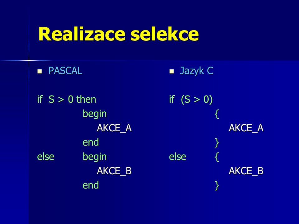 Realizace selekce PASCAL PASCAL if S > 0 then begin beginAKCE_A end end else begin AKCE_B end end Jazyk C Jazyk C if (S > 0) {AKCE_A } else { AKCE_B }