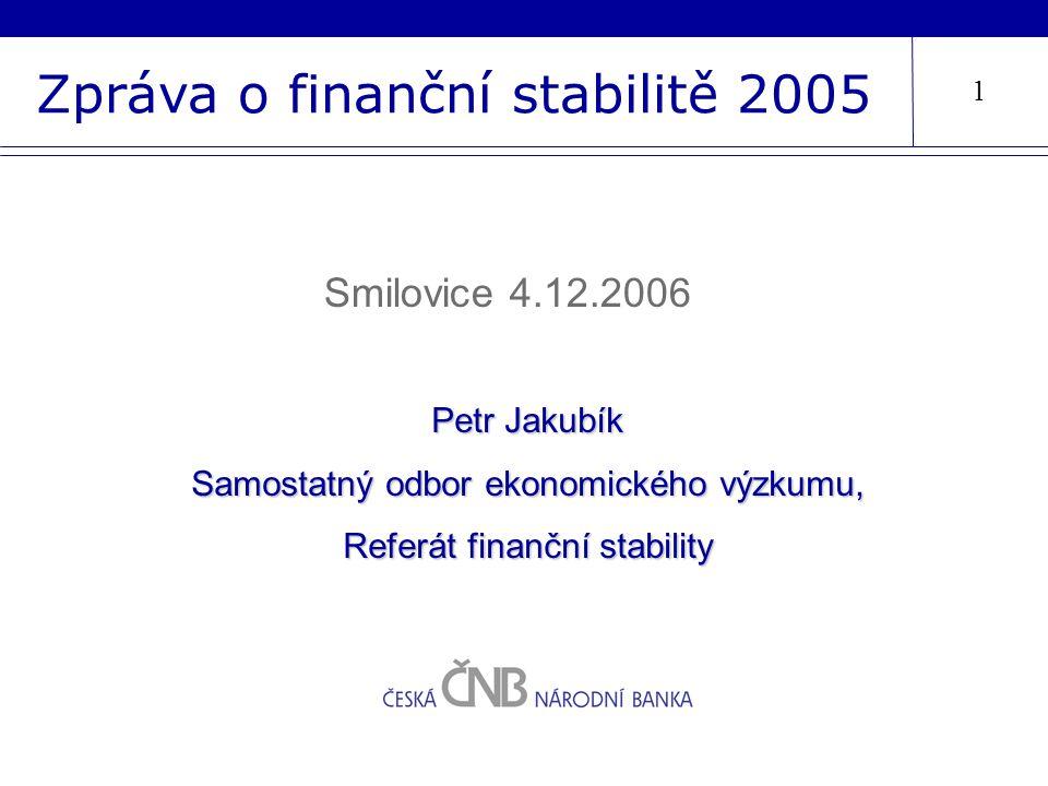 Zpráva o finanční stabilitě 2005 Petr Jakubík Samostatný odbor ekonomického výzkumu, Referát finanční stability Smilovice 4.12.2006 1