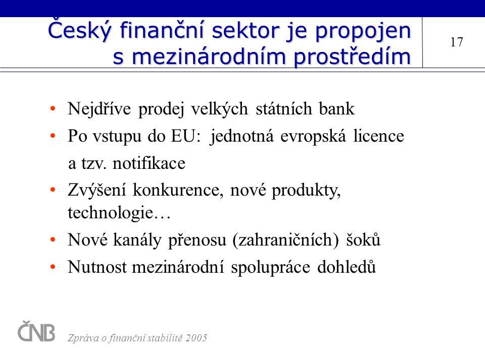 Český finanční sektor je propojen s mezinárodním prostředím Nejdříve prodej velkých státních bank Po vstupu do EU: jednotná evropská licence a tzv. no