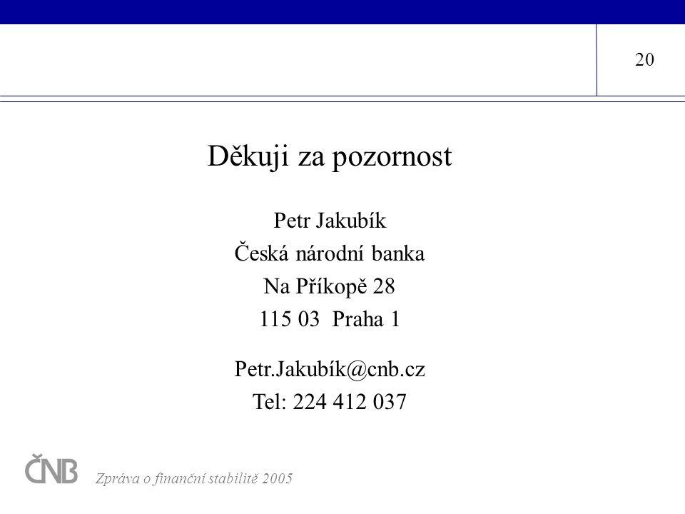 Děkuji za pozornost Petr Jakubík Česká národní banka Na Příkopě 28 115 03 Praha 1 Petr.Jakubík@cnb.cz Tel: 224 412 037 20 Zpráva o finanční stabilitě