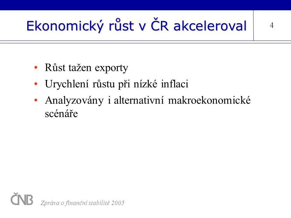 Ekonomický růst v ČR akceleroval Růst tažen exporty Urychlení růstu při nízké inflaci Analyzovány i alternativní makroekonomické scénáře 4 Zpráva o fi