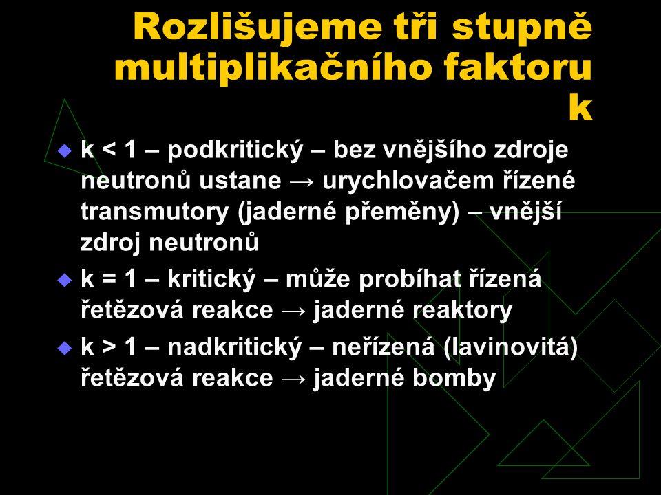Rozlišujeme tři stupně multiplikačního faktoru k  k < 1 – podkritický – bez vnějšího zdroje neutronů ustane → urychlovačem řízené transmutory (jaderné přeměny) – vnější zdroj neutronů  k = 1 – kritický – může probíhat řízená řetězová reakce → jaderné reaktory  k > 1 – nadkritický – neřízená (lavinovitá) řetězová reakce → jaderné bomby