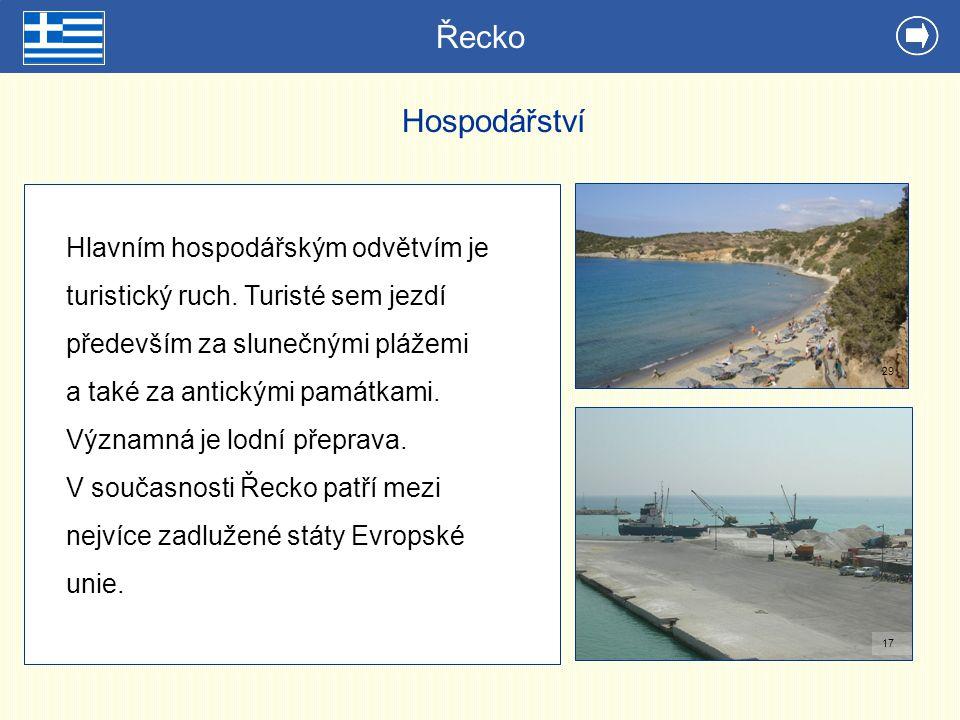 Řecko Hospodářství Hlavním hospodářským odvětvím je turistický ruch. Turisté sem jezdí především za slunečnými plážemi a také za antickými památkami.
