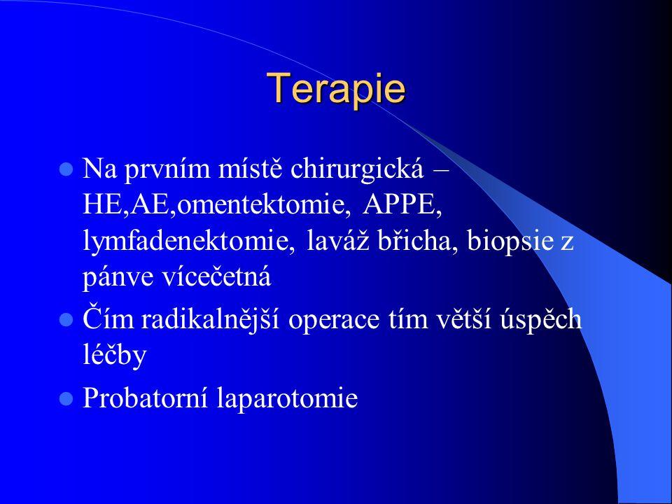 Terapie Na prvním místě chirurgická – HE,AE,omentektomie, APPE, lymfadenektomie, laváž břicha, biopsie z pánve vícečetná Čím radikalnější operace tím