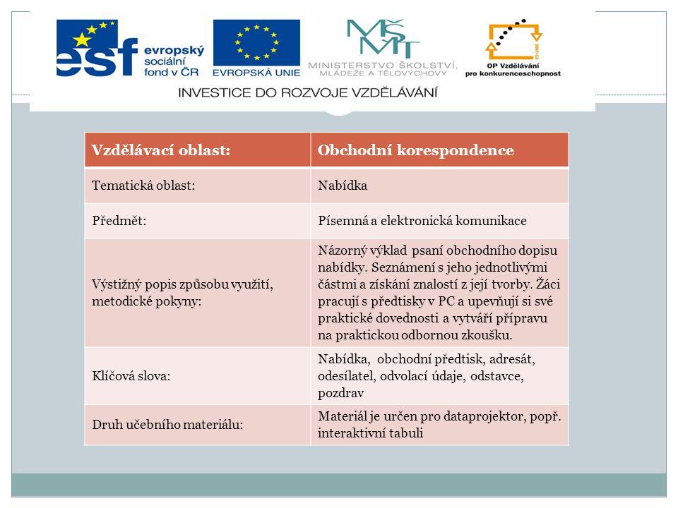 Vzdělávací oblast:Obchodní korespondence Tematická oblast:Nabídka Předmět:Písemná a elektronická komunikace Výstižný popis způsobu využití, metodické