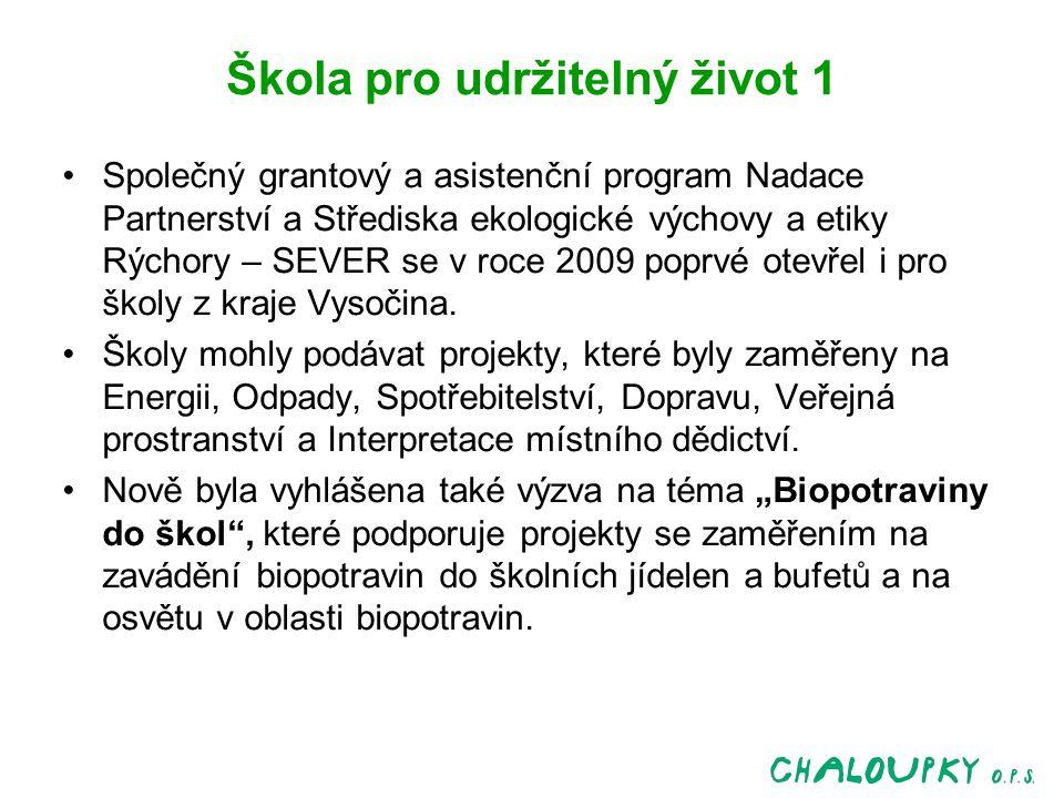 Škola pro udržitelný život 1 Společný grantový a asistenční program Nadace Partnerství a Střediska ekologické výchovy a etiky Rýchory – SEVER se v roce 2009 poprvé otevřel i pro školy z kraje Vysočina.