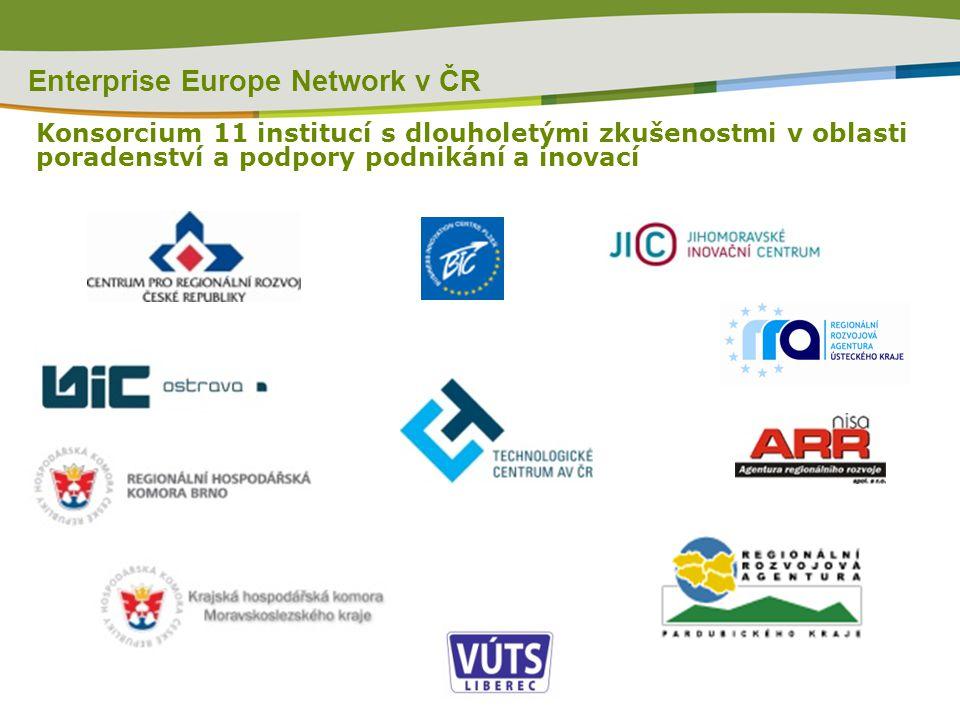 Enterprise Europe Network v ČR Konsorcium 11 institucí s dlouholetými zkušenostmi v oblasti poradenství a podpory podnikání a inovací
