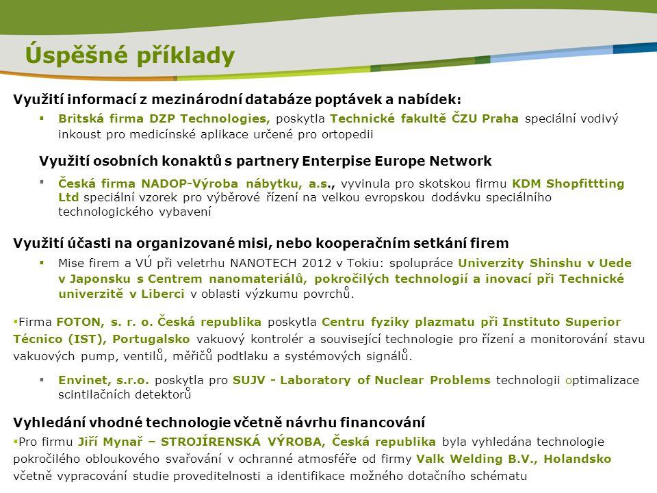 Úspěšné příklady Využití informací z mezinárodní databáze poptávek a nabídek:  Britská firma DZP Technologies, poskytla Technické fakultě ČZU Praha s