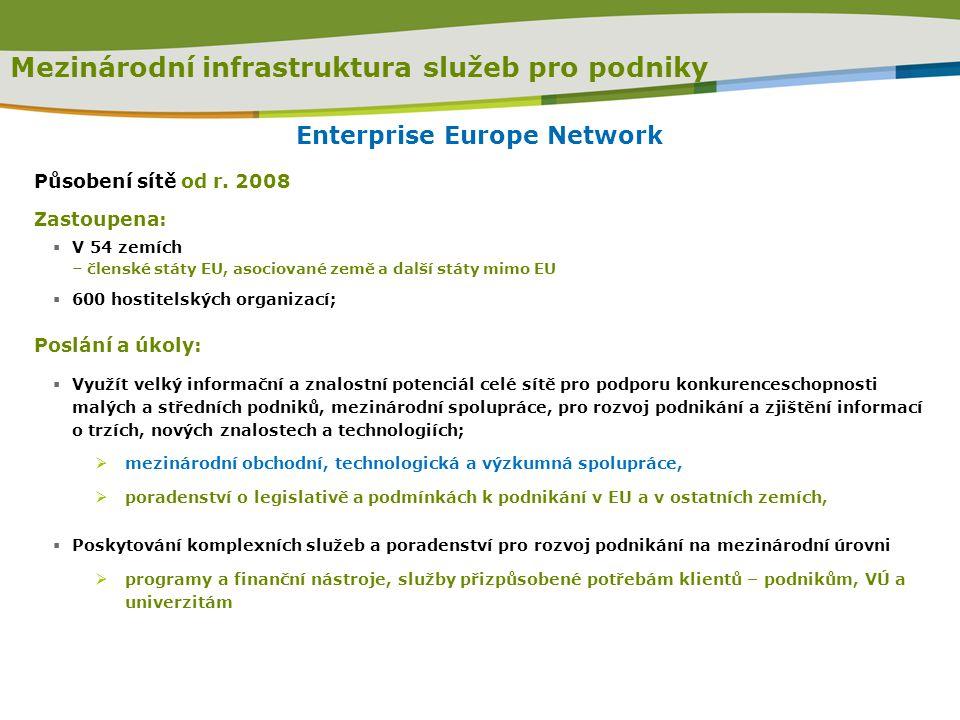 Mezinárodní infrastruktura služeb pro podniky Enterprise Europe Network Působení sítě od r. 2008 Zastoupena:  V 54 zemích – členské státy EU, asociov
