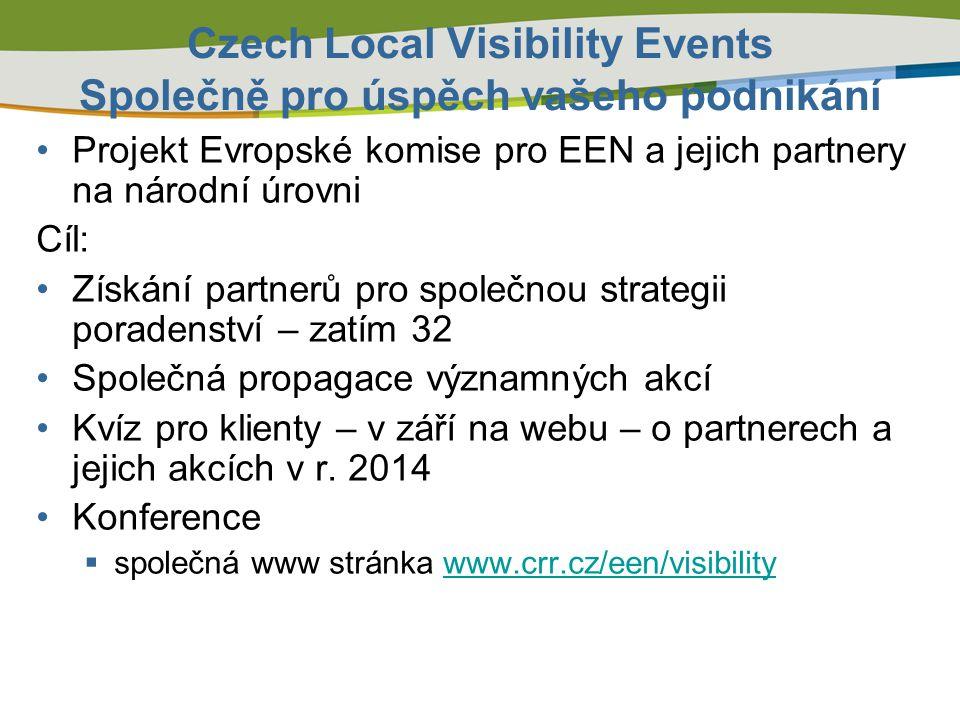 Czech Local Visibility Events Společně pro úspěch vašeho podnikání Projekt Evropské komise pro EEN a jejich partnery na národní úrovni Cíl: Získání pa