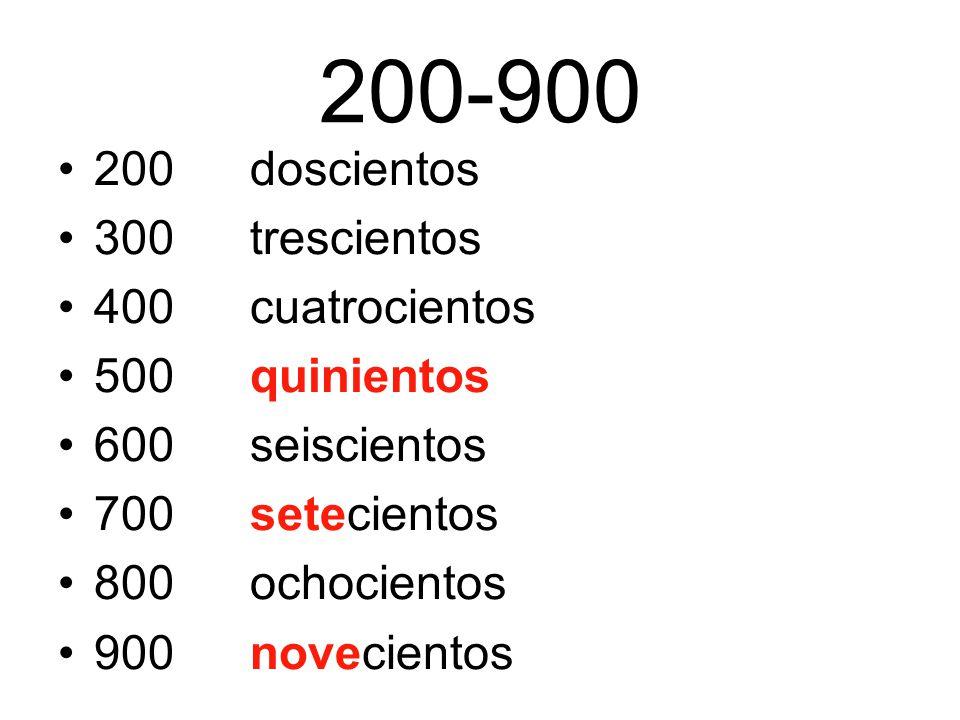 200-900 200doscientos 300trescientos 400cuatrocientos 500quinientos 600seiscientos 700setecientos 800ochocientos 900novecientos