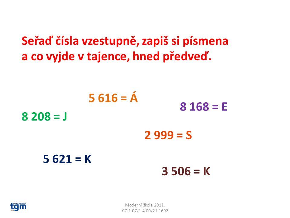Moderní škola 2011, CZ.1.07/1.4.00/21.1692 Seřaď čísla vzestupně, zapiš si písmena a co vyjde v tajence, hned předveď. 5 621 = K 8 168 = E 8 208 = J 5
