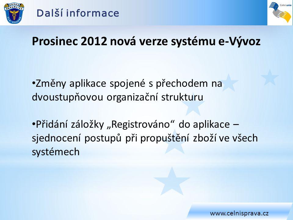 Další informace www.celnisprava.cz Prosinec 2012 nová verze systému e-Vývoz Změny aplikace spojené s přechodem na dvoustupňovou organizační strukturu