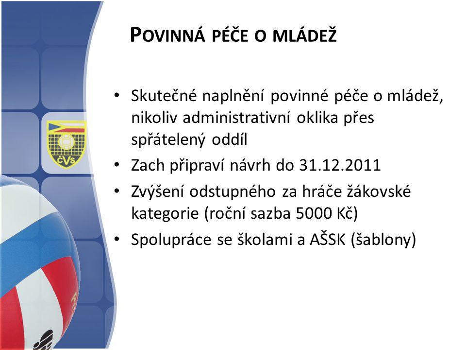 P OVINNÁ PÉČE O MLÁDEŽ Skutečné naplnění povinné péče o mládež, nikoliv administrativní oklika přes spřátelený oddíl Zach připraví návrh do 31.12.2011