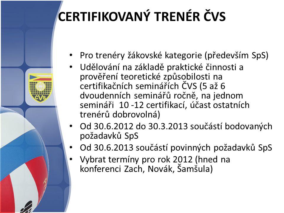CERTIFIKOVANÝ TRENÉR ČVS Pro trenéry žákovské kategorie (především SpS) Udělování na základě praktické činnosti a prověření teoretické způsobilosti na