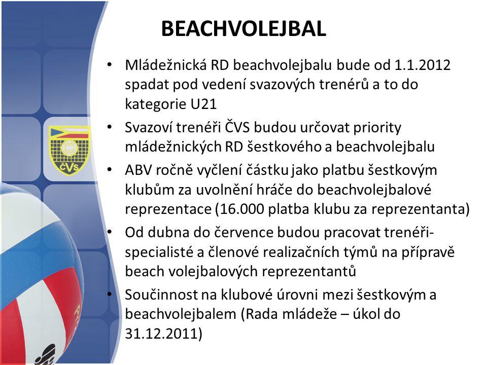 BEACHVOLEJBAL Mládežnická RD beachvolejbalu bude od 1.1.2012 spadat pod vedení svazových trenérů a to do kategorie U21 Svazoví trenéři ČVS budou určov