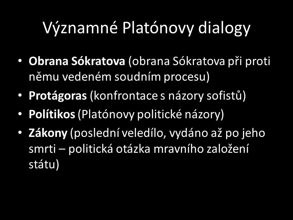 Významné Platónovy dialogy Obrana Sókratova (obrana Sókratova při proti němu vedeném soudním procesu) Protágoras (konfrontace s názory sofistů) Polítikos (Platónovy politické názory) Zákony (poslední veledílo, vydáno až po jeho smrti – politická otázka mravního založení státu)