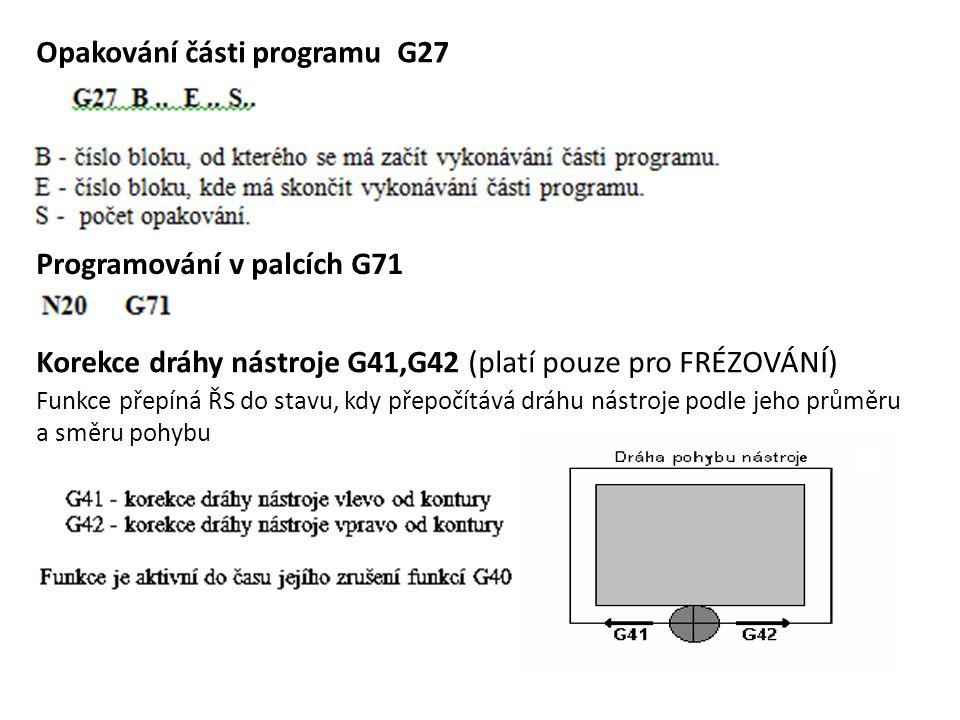 Opakování části programu G27 Programování v palcích G71 Korekce dráhy nástroje G41,G42 (platí pouze pro FRÉZOVÁNÍ) Funkce přepíná ŘS do stavu, kdy pře
