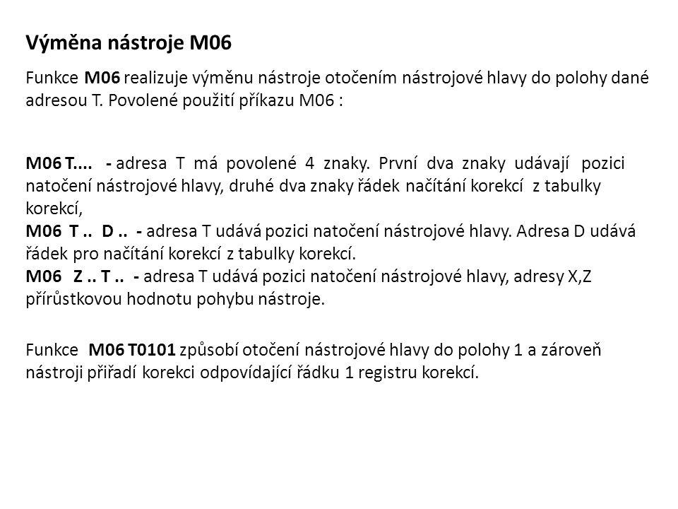 Výměna nástroje M06 Funkce M06 realizuje výměnu nástroje otočením nástrojové hlavy do polohy dané adresou T. Povolené použití příkazu M06 : M06 T....