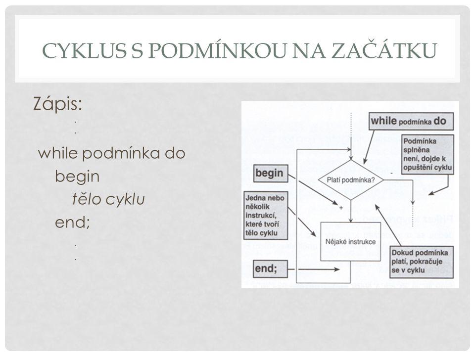 CYKLUS S PODMÍNKOU NA ZAČÁTKU Zápis:. while podmínka do begin tělo cyklu end;.