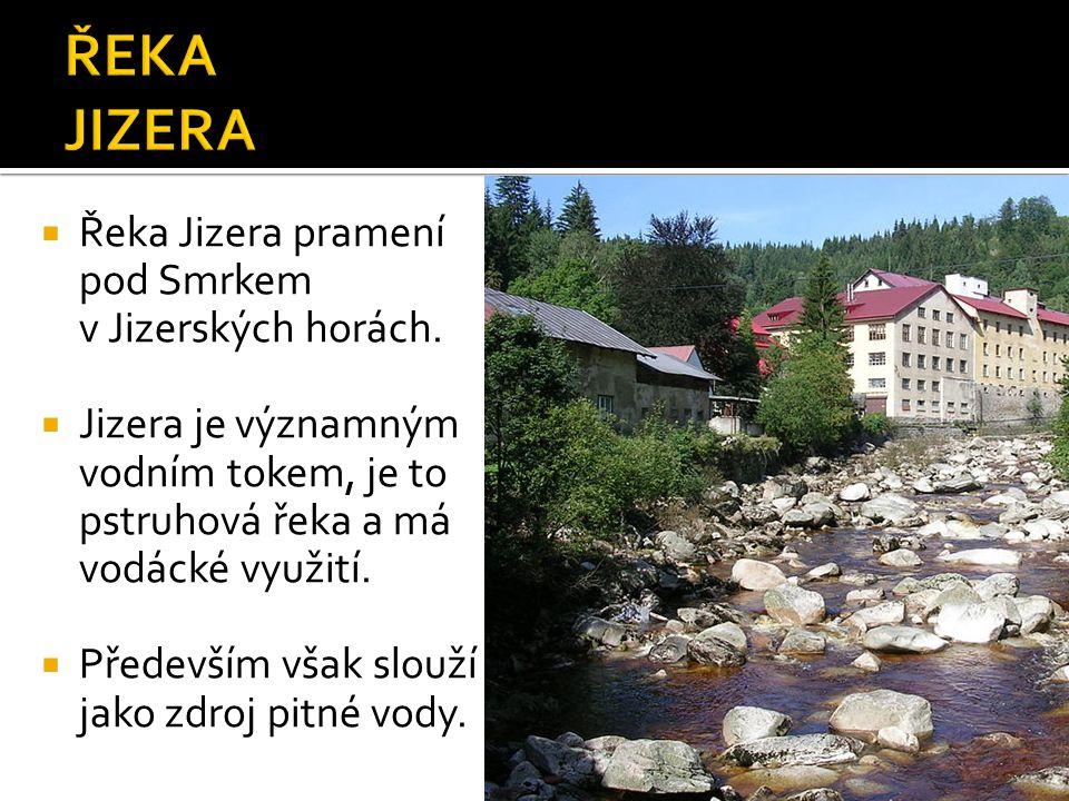  Řeka Jizera pramení pod Smrkem v Jizerských horách.