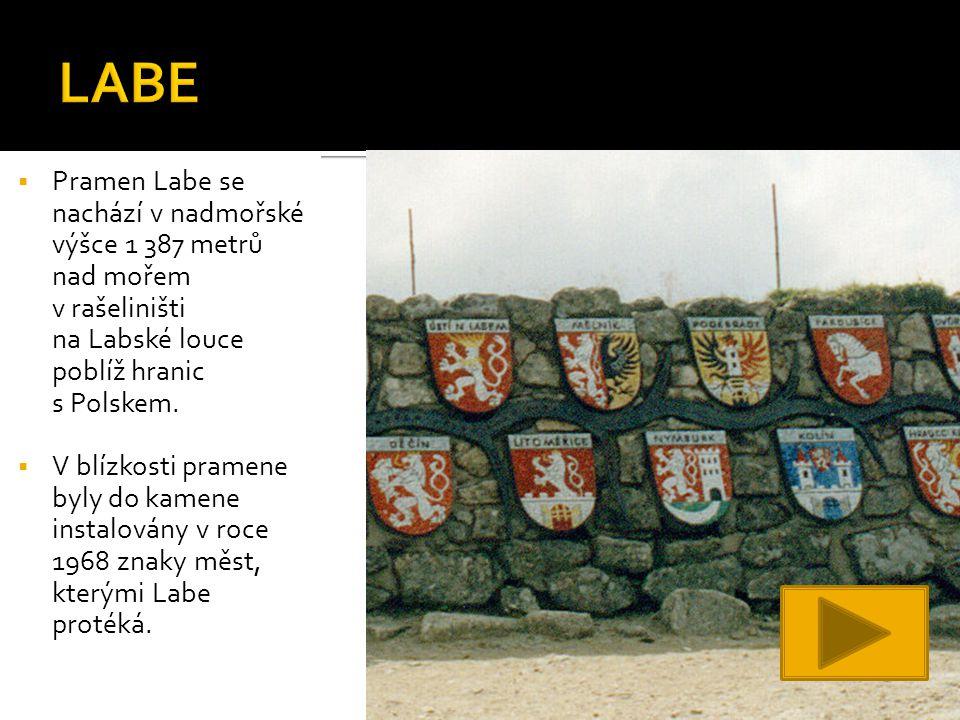  Pramen Labe se nachází v nadmořské výšce 1 387 metrů nad mořem v rašeliništi na Labské louce poblíž hranic s Polskem.