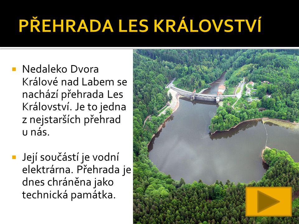  Nedaleko Dvora Králové nad Labem se nachází přehrada Les Království.