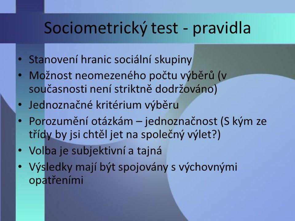 Sociometrický test - pravidla Stanovení hranic sociální skupiny Možnost neomezeného počtu výběrů (v současnosti není striktně dodržováno) Jednoznačné