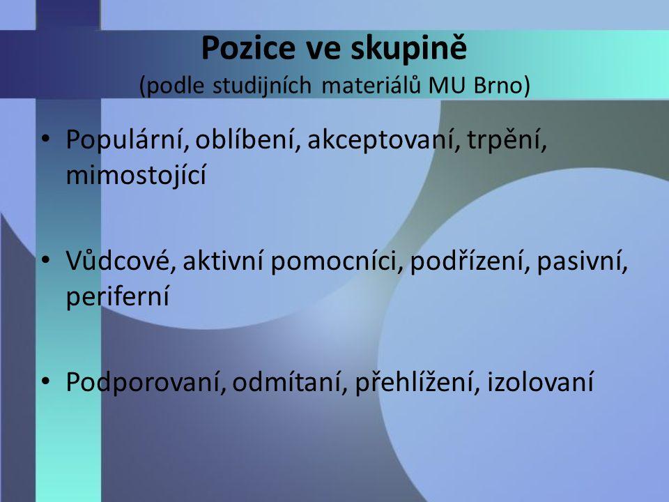 Pozice ve skupině (podle studijních materiálů MU Brno) Populární, oblíbení, akceptovaní, trpění, mimostojící Vůdcové, aktivní pomocníci, podřízení, pasivní, periferní Podporovaní, odmítaní, přehlížení, izolovaní