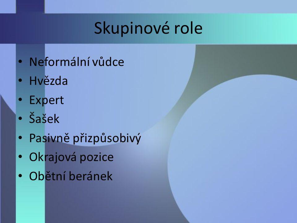 Skupinové role Neformální vůdce Hvězda Expert Šašek Pasivně přizpůsobivý Okrajová pozice Obětní beránek