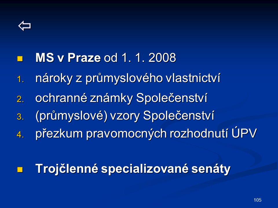 105  MS v Praze od 1. 1. 2008 MS v Praze od 1. 1. 2008 1. nároky z průmyslového vlastnictví 2. ochranné známky Společenství 3. (průmyslové) vzory Spo