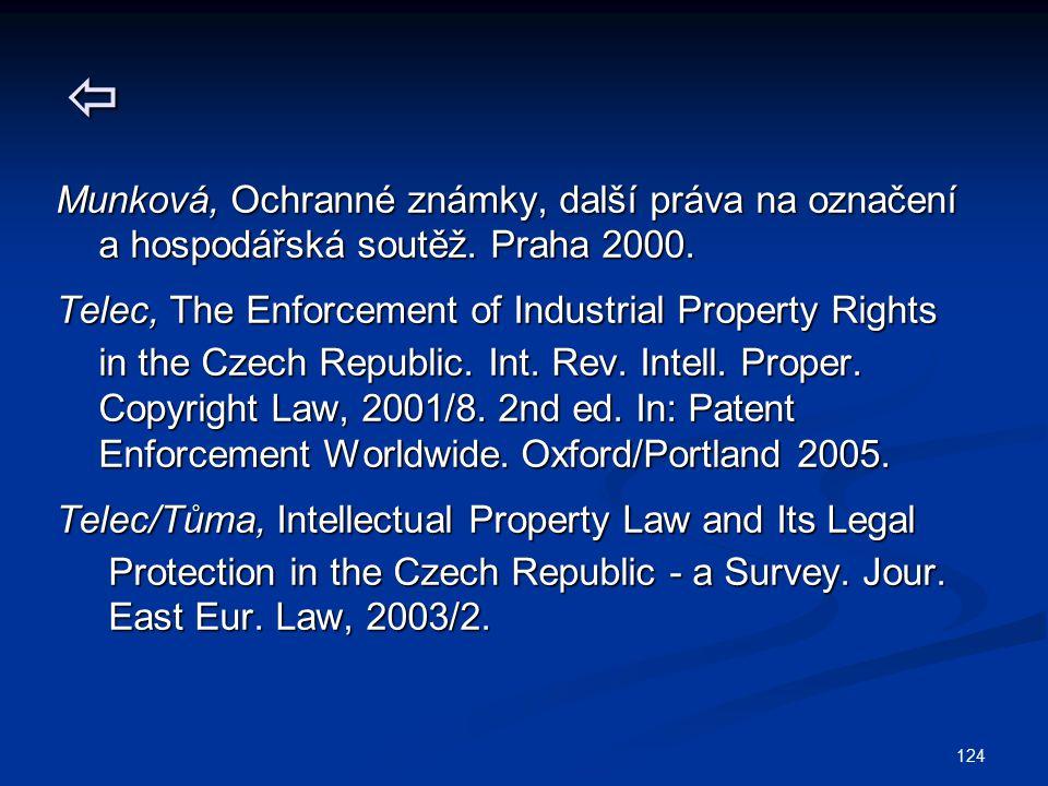124  Munková, Ochranné známky, další práva na označení a hospodářská soutěž. Praha 2000. a hospodářská soutěž. Praha 2000. Telec, The Enforcement of