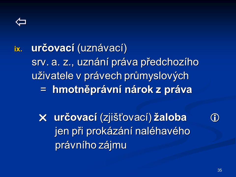 35  ix. určovací (uznávací) srv. a. z., uznání práva předchozího srv. a. z., uznání práva předchozího uživatele v právech průmyslových uživatele v pr