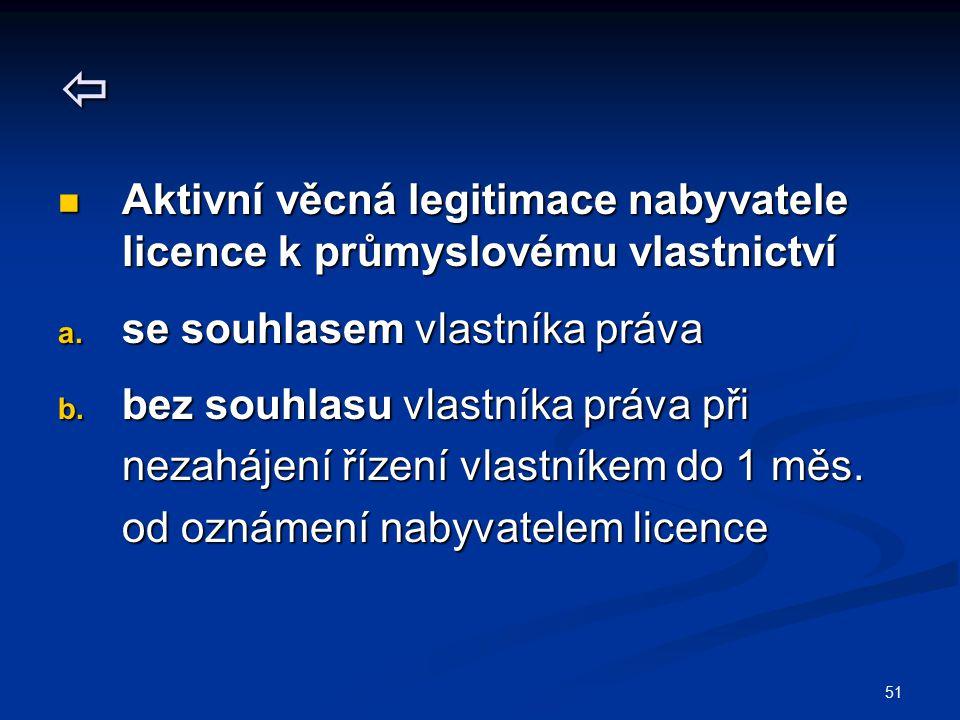 51  Aktivní věcná legitimace nabyvatele licence k průmyslovému vlastnictví Aktivní věcná legitimace nabyvatele licence k průmyslovému vlastnictví a.