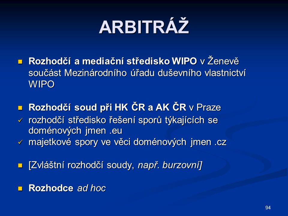 94 ARBITRÁŽ Rozhodčí a mediační středisko WIPO v Ženevě součást Mezinárodního úřadu duševního vlastnictví WIPO Rozhodčí a mediační středisko WIPO v Že