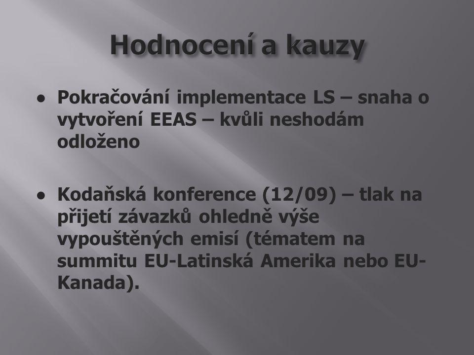 ● Pokračování implementace LS – snaha o vytvoření EEAS – kvůli neshodám odloženo ● Kodaňská konference (12/09) – tlak na přijetí závazků ohledně výše vypouštěných emisí (tématem na summitu EU-Latinská Amerika nebo EU- Kanada).