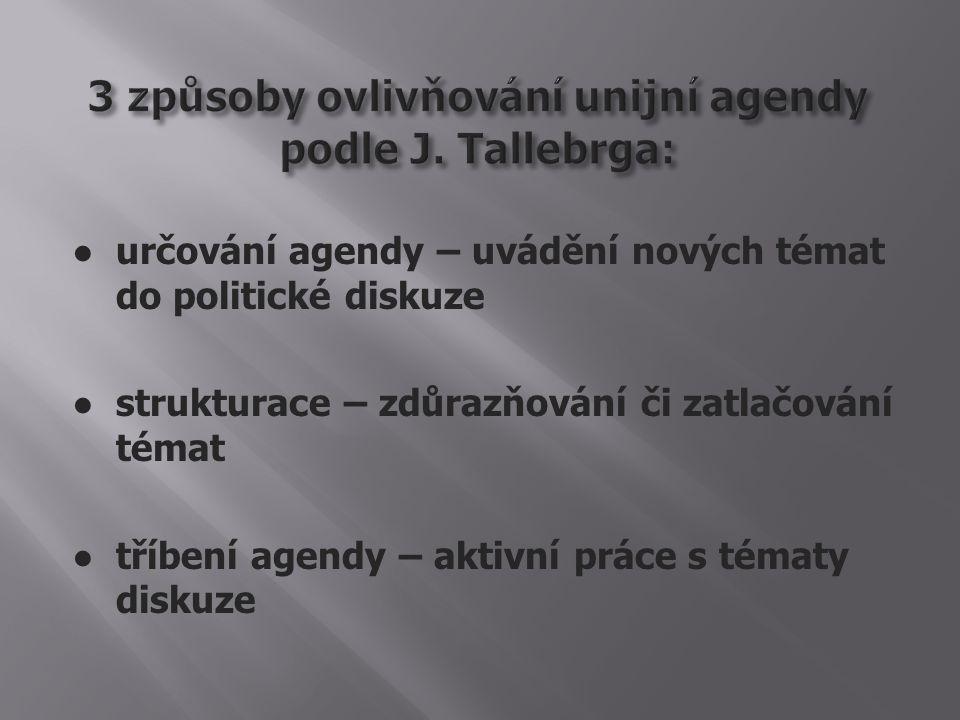 ● určování agendy – uvádění nových témat do politické diskuze ● strukturace – zdůrazňování či zatlačování témat ● tříbení agendy – aktivní práce s tématy diskuze