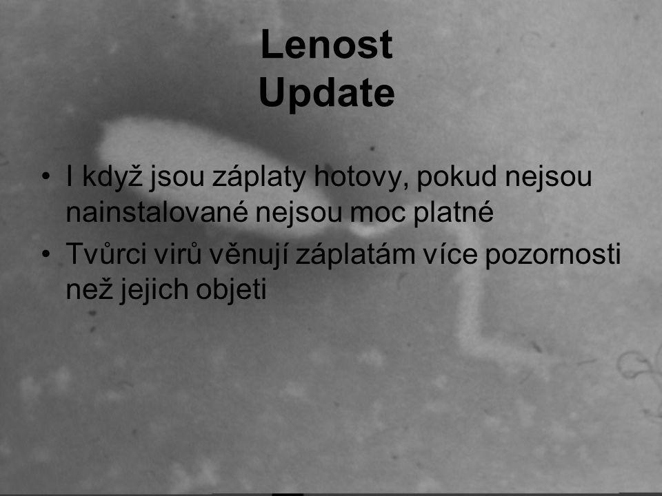 Lenost Update I když jsou záplaty hotovy, pokud nejsou nainstalované nejsou moc platné Tvůrci virů věnují záplatám více pozornosti než jejich objeti