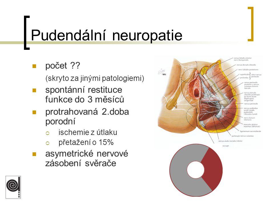 Pudendální neuropatie počet ?? (skryto za jinými patologiemi) spontánní restituce funkce do 3 měsíců protrahovaná 2.doba porodní  ischemie z útlaku 