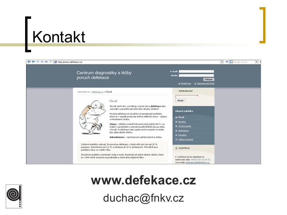 Kontakt www.defekace.cz duchac@fnkv.cz